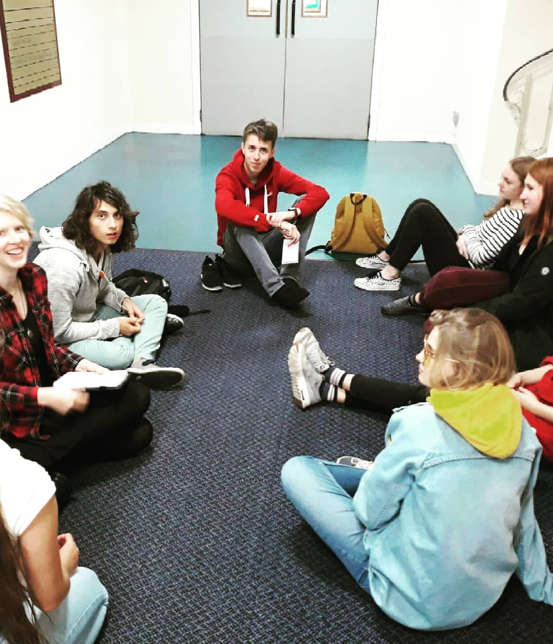 Brainstorming in the corridor; the other group needed the room we'd booked to shoot Forking Hell